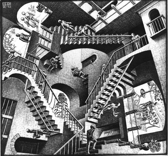 M. C. Escher; Relativität, Juli 1953  (Haags Gemeentemuseum)