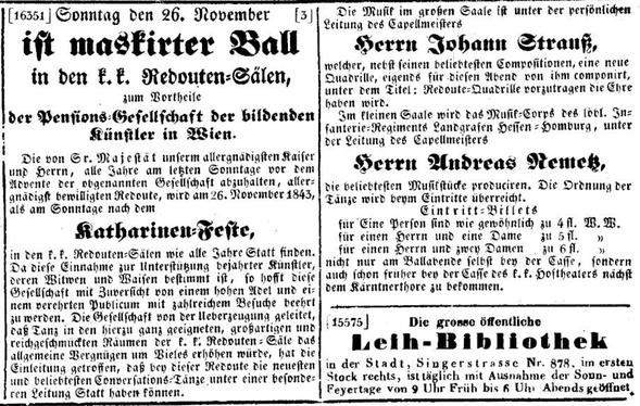 """Ankündigung in der """"Wiener Zeitung"""" vom 25.11.1843"""