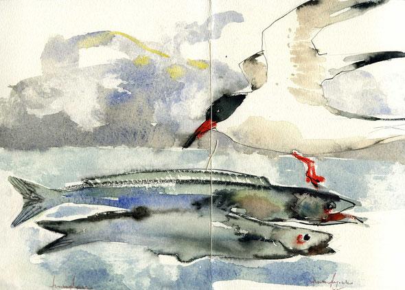 acquarello originale firmato di Luciano Ragozzino a doppia pagina - 220x320 mm