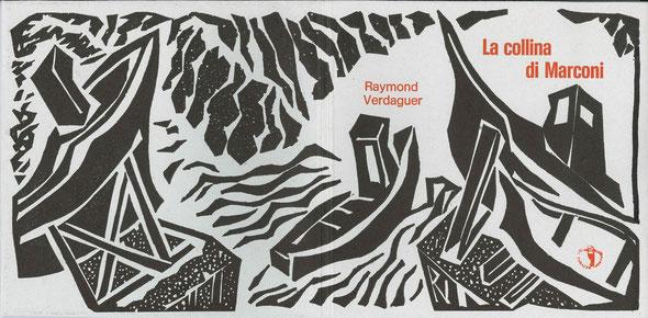 copertina con stampa tipografica in rosso e linoleum originale dell'autore a doppia pagina