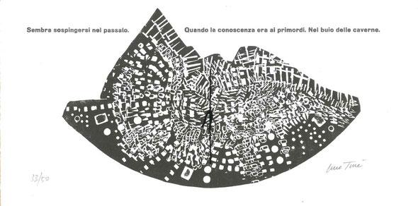 incisione originale dell'autore a doppia pagina numerata e firmata e stampa tipografica in nero