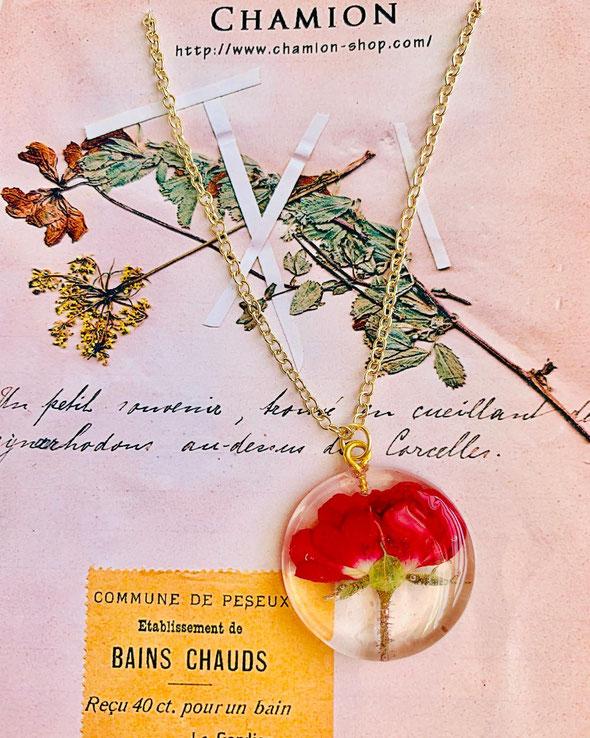 一輪の薔薇 ドライフラワー ネックレス 薔薇のネックレス プレゼント アクセサリー オーダーメイド chouchou