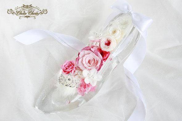 ガラスの靴 ディズニー アンバサダー プリザーブドフラワー 刻印