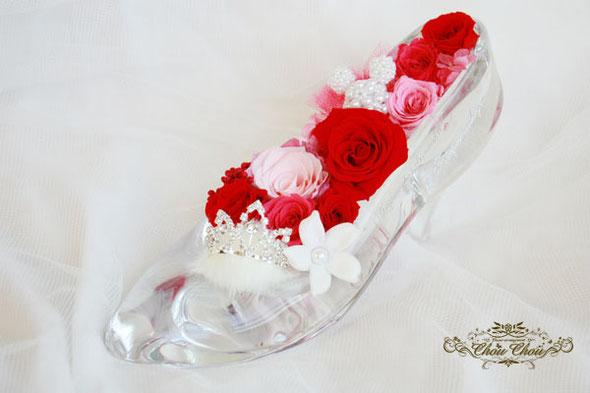 ガラスの靴 プロポーズ ディズニー ミッキー オーダーフラワー バラ 刻印 ティアラ