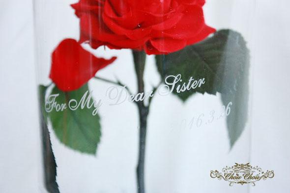 美女と野獣 ウェディング 結婚式 プレゼント 薔薇 ガラスドーム プリザーブドフラワー 刻印