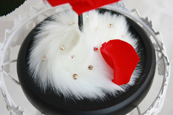 サプライズプロポーズ 美女と野獣の1輪のバラ ガラスドーム プリザーブドフラワー 販売 ディズニー ウェディング