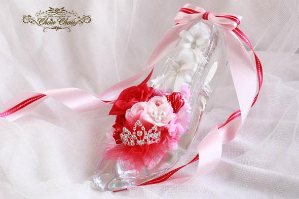 ガラス靴 プロポーズ ディズニー ミラコスタ フラワー リングピロー