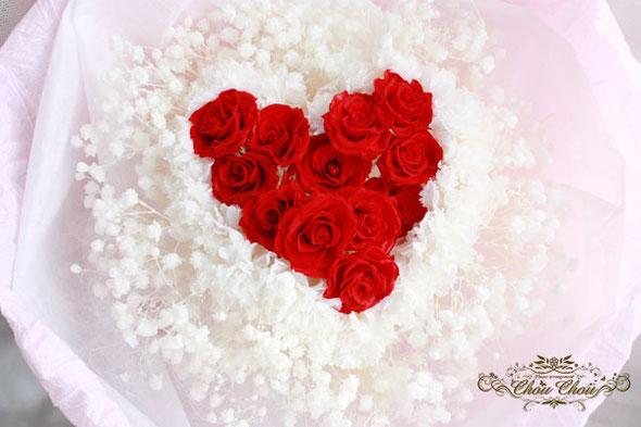 ダズンローズ プロポーズ ウェディング サプライズ 12本 薔薇 カスミ草 ハート 花束