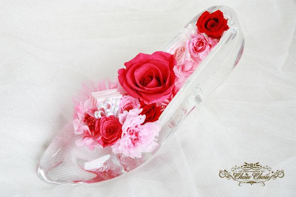 ガラスの靴 ディズニー プロポーズ オーダー フラワー 薔薇 プリザーブドフラワー ディズニーランドホテル