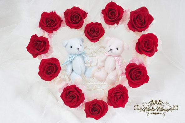 プロポーズ フラワーギフト プレゼント プリザーブドフラワー ハート クマ 赤バラ ダズンローズ