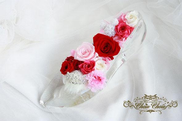 ガラスの靴 ディズニー ミラコスタ 誕生日 入籍祝い 薔薇 プリザーブドフラワー