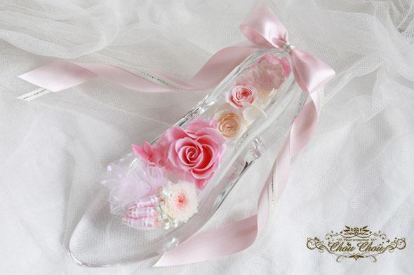 ガラスの靴 フラワー ピンク リボン シンデレラ