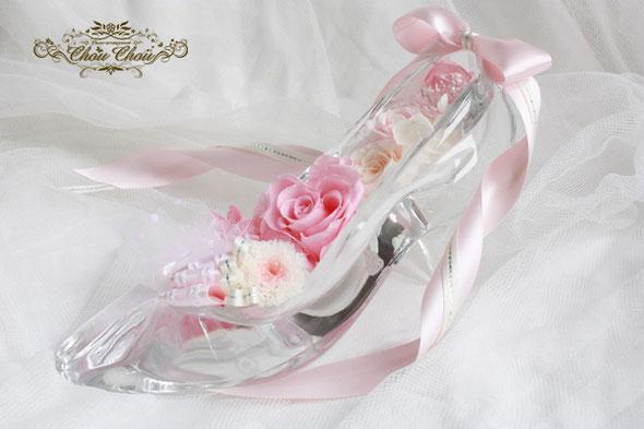 ガラスの靴 フラワー 本物 プリザ  ピンク