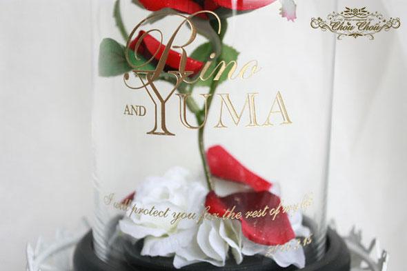 美女と野獣 薔薇 プロポーズ ディズニー ガラスドーム オーダーフラワー 造花 刻印 ミラコスタ ディズニーシー