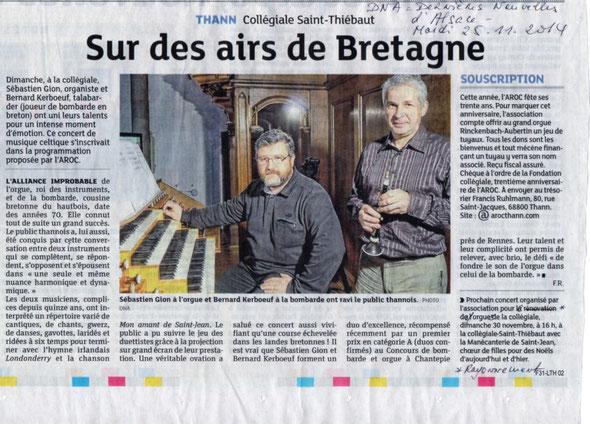 Article - Les dernières nouvelles d'Alsace - 25 novembre 2014