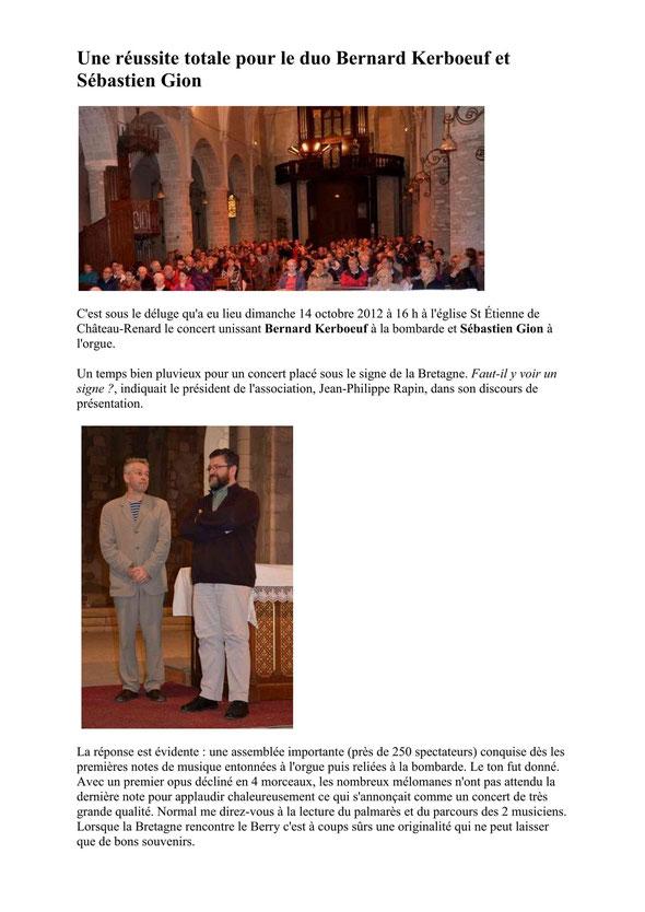 Article NR - Concert Châteaurenard (45) 12 octobre 2012