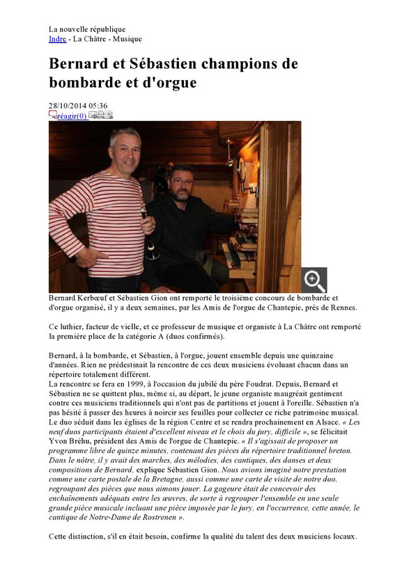 Article NR concernant le concours de Chantepie - 214 octobre 2014
