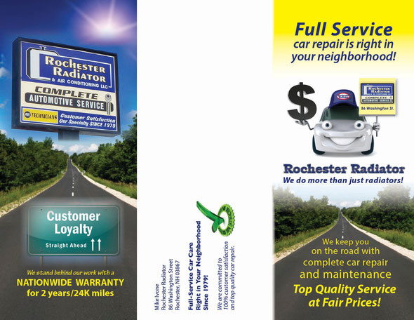 Outside panels, tri-fold brochure for Rochester Radiator