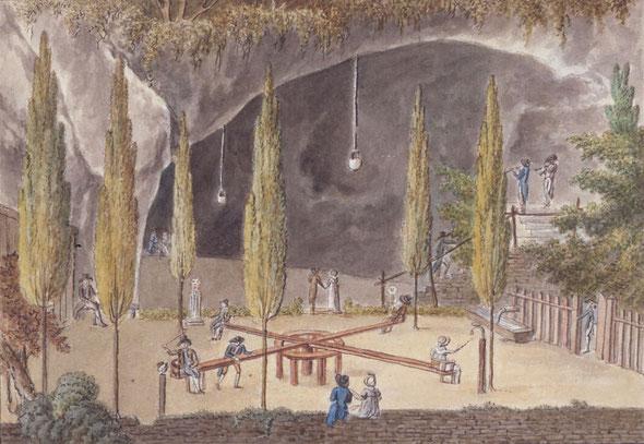 Die einzige Darstellung des Karussellplatzes vor der Zerstörung durch die französischen Truppen. Aquarell Francesco Bandinelli (c) Martin Friedli Basel