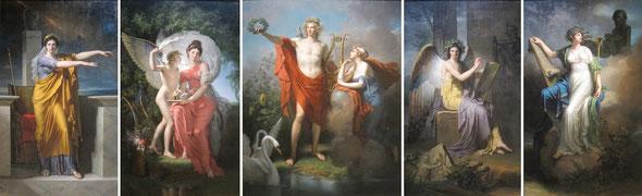 Apollon et les Muses de Charles Meynier -Polymnie, muse de l'éloquence; Erato, muse de la poésie lyrique; Apollon, dieu de la lumière et Uranie, muse de l'astronomie; Clio, muse de l'histoire; Calliope, muse de la poésie épique