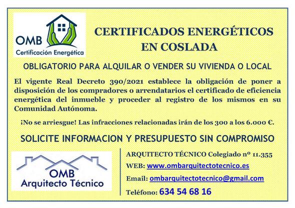 Certificado Energético Coslada (Madrid) - Certificado de Eficiencia Energética obligatorio - OMB Certificación Energética Madrid - OMB Arquitecto Técnico - Oscar Millano Bermúdez