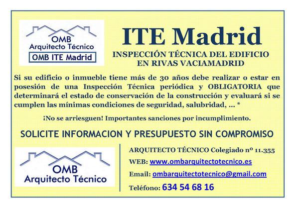Inspección técnica de Edificos Rivas Vaciamadrid - ITE Rivas Vaciamadrid - OMB ITE Madrid - OMB Arquitecto Técnico