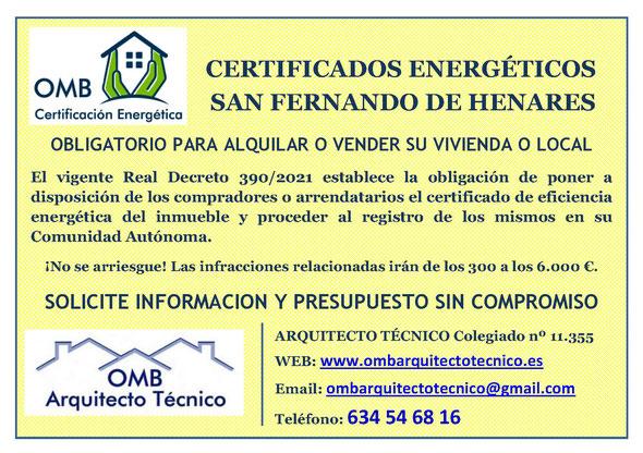 Certificado Energético San Fernando de Henares (Madrid) - Certificado de Eficiencia Energética obligatorio - OMB Certificación Energética Madrid - OMB Arquitecto Técnico - Oscar Millano Bermúdez
