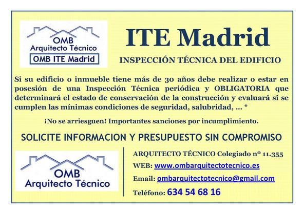 ITE MADRID - Inspección Técnica de Edificios en Madrid 2016 - OMB Arquitecto Técnico. Su ITE en Madrid, Alcalá de Henares, Alcobendas, Algete, Arganda del Rey, Collado Villalba, Fuente el Saz de Jarama, al mejor precio