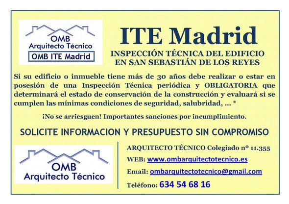 Inspección técnica de Edificos San Sebastián de los Reyes - ITE San Sebastián de los Reyes - OMB ITE Madrid - OMB Arquitecto Técnico