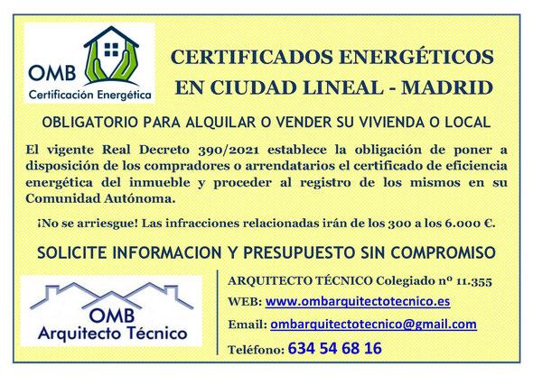 Certificado Energético Ciudad Lineal / Madrid - Certificado de Eficiencia Energética obligatorio - OMB Certificación Energética Madrid - OMB Arquitecto Técnico - Oscar Millano Bermúdez