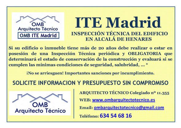 Inspección técnica de Edificos Alcalá de Henares - ITE Alcalá de Henares - OMB ITE Madrid - OMB Arquitecto Técnico
