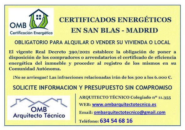 Certificado Energético San Blas / Madrid - Certificado de Eficiencia Energética obligatorio - OMB Certificación Energética Madrid - OMB Arquitecto Técnico - Oscar Millano Bermúdez