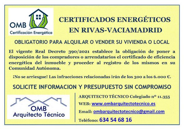 Certificado Energético Rivas Vaciamadrid (Madrid) - Certificado de Eficiencia Energética obligatorio - OMB Certificación Energética Madrid - OMB Arquitecto Técnico - Oscar Millano Bermúdez
