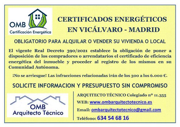 Certificado Energético Vicálvaro / Madrid - Certificado de Eficiencia Energética obligatorio - OMB Certificación Energética Madrid - OMB Arquitecto Técnico - Oscar Millano Bermúdez