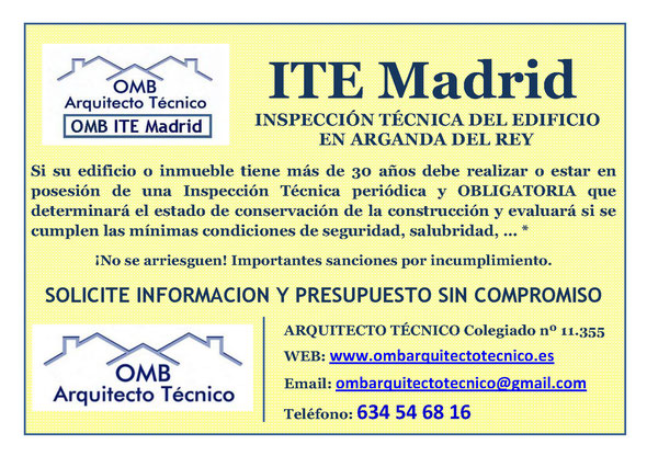 Inspección técnica de Edificos Arganda del Rey - ITE Arganda del Rey - OMB ITE Madrid - OMB Arquitecto Técnico