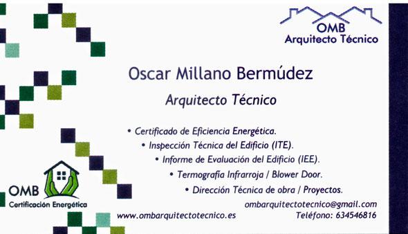 OMB Arquitecto Técnico / Aparejadores Madrid - Oscar Millano Bermúdez (Coslada). Aparejador o Arquitecto Técnico de Coslada, en Madrid. Especialista en ITE, Inspección Técnica de Edificios, Certificados Energéticos y Dirección de Obras.