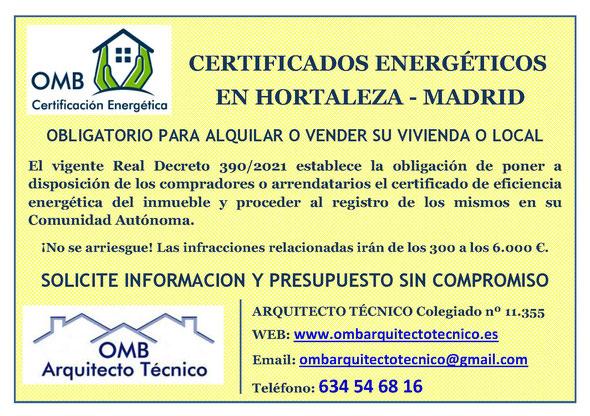 Certificado Energético Hortaleza / Madrid - Certificado de Eficiencia Energética obligatorio - OMB Certificación Energética Madrid - OMB Arquitecto Técnico - Oscar Millano Bermúdez