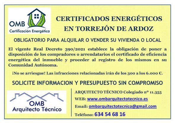 Certificado Energético Torrejón de Ardoz (Madrid) - Certificado de Eficiencia Energética obligatorio - OMB Certificación Energética Madrid - OMB Arquitecto Técnico - Oscar Millano Bermúdez
