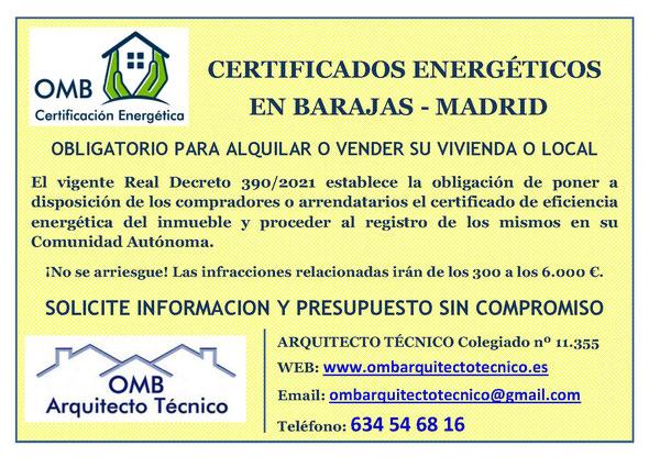 Certificado Energético Barajas / Madrid - Certificado de Eficiencia Energética obligatorio - OMB Certificación Energética Madrid - OMB Arquitecto Técnico - Oscar Millano Bermúdez
