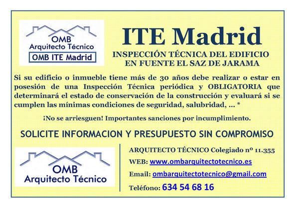 Inspección técnica de Edificos Fuente el Saz de Jarama - ITE Fuente el Saz de Jarama - OMB ITE Madrid - OMB Arquitecto Técnico