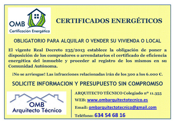 Certificado de Eficiencia Energética Obligatorio - OMB Certificación Energética - Edificios existentes