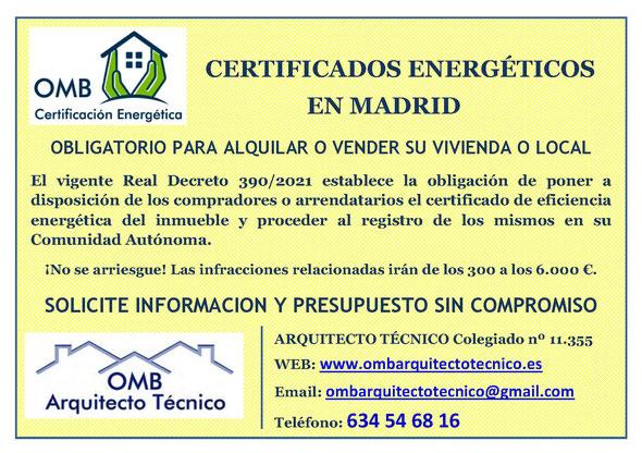 Certificado Energético Madrid - Certificado de Eficiencia Energética Madrid - OMB ARQUITECTO TECNICO