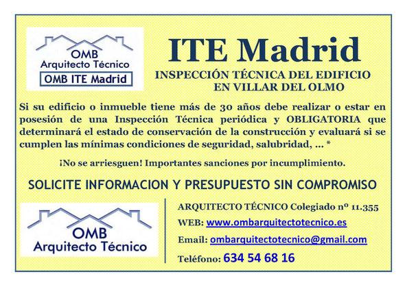 Inspección técnica de Edificos Villar del Olmo - ITE Villar del Olmo - OMB ITE Madrid - OMB Arquitecto Técnico
