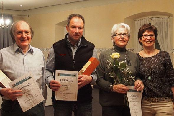 v. l. n. r. Siegfried Störzer, Oli Hubl, Gundula Schönwetter und  Marianne Späth