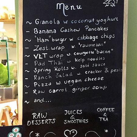 raw food cafe menu amsterdam