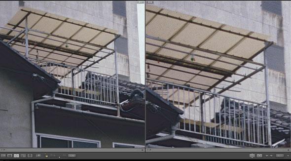 2400dpi 3600dpi比較 屋根の上の白い波板を等倍に拡大(クリックして拡大)