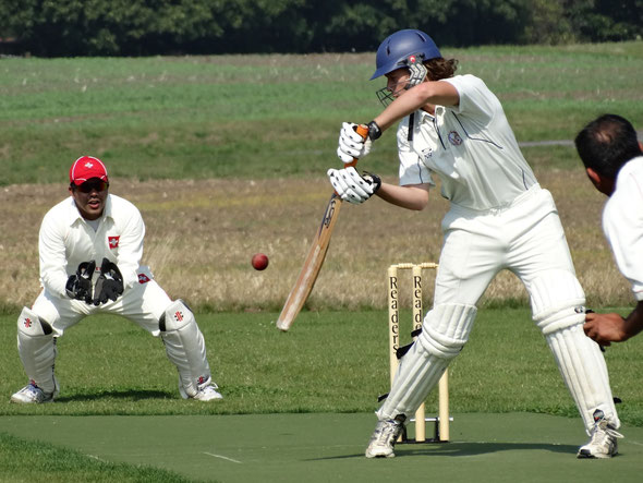Tom Mampilly in action for Switzerland against Czech Republic (4-Nation T20, 5-7.9.2014)