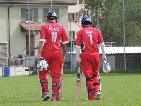 Prafull & Tom going out to bat for Winterthur against St Gallen (2016)