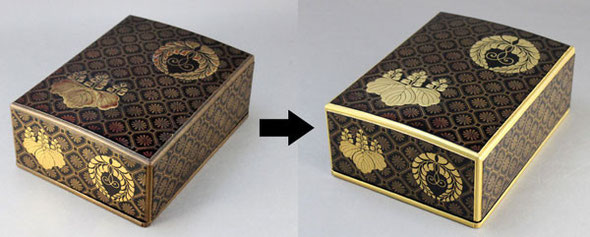 木製家紋入り文庫の修理例