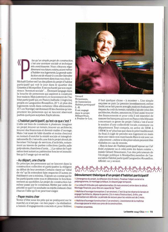 ARTICLE de la GAZETTE de MONTPELLIER, supplément au N° 1348, avril 2014, page 2
